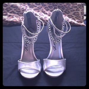 Silver ankle chain heels
